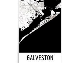 Galveston Map, Galveston Art, Galveston Print, Galveston TX Poster, Galveston Wall Art, Map of Galveston, Galveston Gift, Galveston Decor
