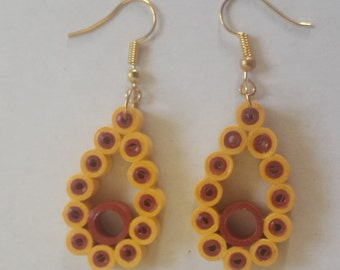 Handmade Paper Quilling Teardrop dangle earrings in Yellow and magenta color