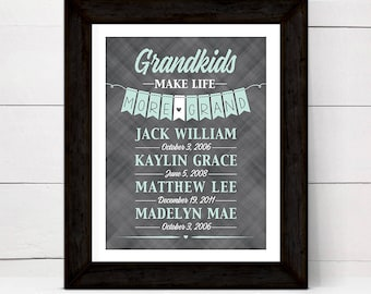 Christmas gift for grandparents from grandkids, personalized grandkids make life grand sign, custom colors, print or canvas