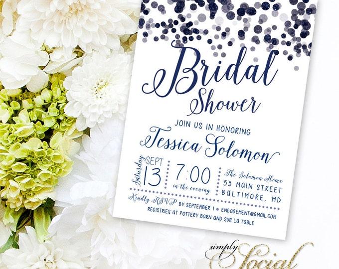 Navy Confetti Bridal Shower Invitation - Printable Glitter Glam