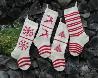 """Knit Christmas Stockings ~24"""" Personalized Hand knit Wool White Cranberry Red Trees Deer Snowflakes Stripes ornaments Nordic style"""