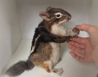 Needle felted Chipmunk...SOLD