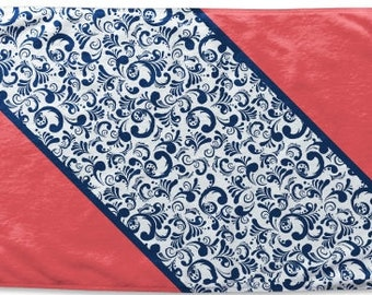 Monogrammed Microfiber Beach Towel Throw - Red White Blue