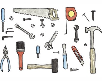 Handy Tools Print Watercolor and Ink
