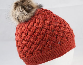 Rustic Orange Crochet Beanie - Celtic Weave Pattern - Wool - Hand Crafted - Adult Womens