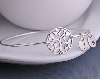 Stacking Bangles,Personalized Tree Bangle Bracelet, Stackable Bangle Bracelets, Sterling Silver Tree