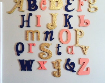 Painted Wooden Alphabet Set in Mixed Fonts and Sizes, Wooden Letters, Nursery Wall Decor ABC Alphabet Wall, Nursery Wall Art, Wall Hanging