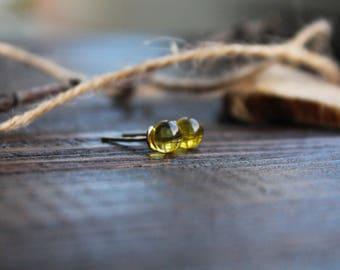 Cерьги пусет с прозрачным желтым янтарем