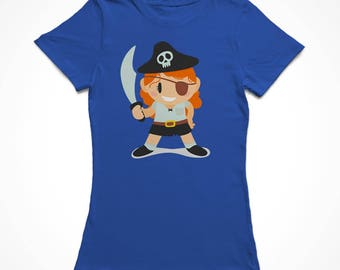 Cute Cartoon Girl In A Pirate Costume Women's Royal Blue Halloween T-shirt