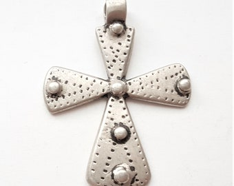 Antique Ethiopian Christian silver cross pendant from Maria Theresa silver coin 1900s