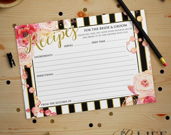 Floral and Gold Striped Bridal Shower Recipe Card Printable DIY No. I267
