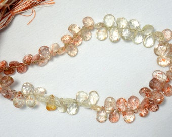 Shaded Sunstone Pear Shape Beads, Sunstone Faceted Pear Shape Gemstone For Jewelry, 6x8 - 7x10mm Approx, 9 Inch Strand