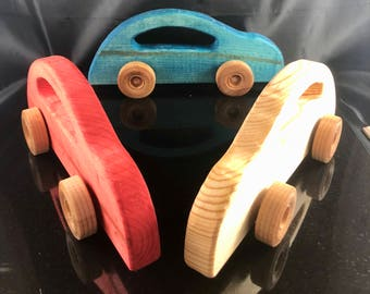 Wood Toy Car, Pine Car, Non Toxic Stain, Wood Toy, Red Car, Blue Car, Natural Wood Car, Handmade, Handcrafted, Old School Toy, Simple Toy