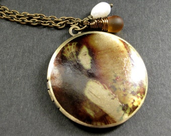Romantic Locket Necklace. Charm Necklace with Fresh Water Pearl and Amber Teardrop. Handmade Jewelry.