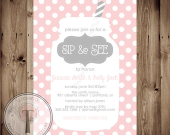 Sip and See Invitation, BABY SHOWER invitation, baby girl, baby shower, girl, baby shower invitation, sip n see, sip and see