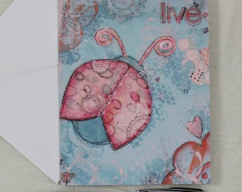 Note Cards Mixed Media Art Print Ladybug Pink