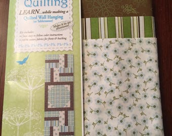 """Kit for 18x54"""" Quilted Table Runner or Wall Hanging in Greens & Browns"""