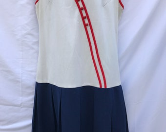 Vintage 60s Red White Blue Sailor Style Dress Dropped Waist Pleated Skirt Sleeveless Mod