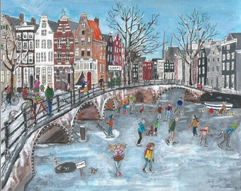 Skating on the Amsterdam canals, original pencil and acrylic, print, 21 by 24 cm