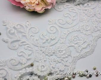 White Alencon lace trim/Lace Wedding Dress Lace Fabric/Boho Wedding Dress/Prom Dress/Boho Dress/Bridal Veil Lace/Lace Trim By the yard/AL-08