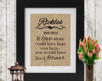 Personalized pet memorial - Pet Loss Gifts - Pet Death - IF LOVE ALONE - Burlap Print - Condolence/Sympathy Gift - Personalized Cat/Dog