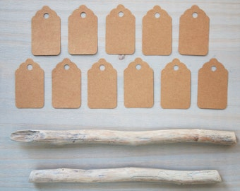 24 Small craft paper tags - brown paper tags - product tags - paper price tags