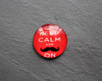 Cabochon 25 mm glass red mustache theme
