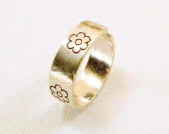 Sterling Silver Hand Stamped Ring, Silver Ring, Hand Stamped Sterling Ring