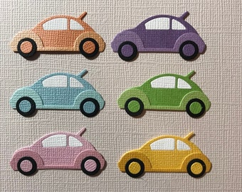 VW Volkswagon Die Cuts x 6 for Scrapbooking Cards and Paper Crafts Cars Transport Bug Beetle Car Embellishment