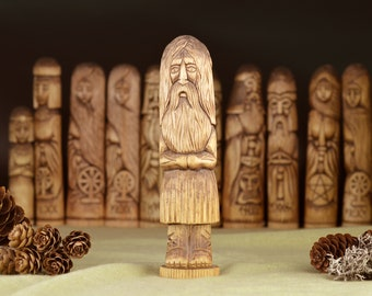 Graeco-Egyptian God Serapis Wooden Linden Statue. Wicca Ancient Egypt God. Egyptian mythology.