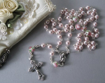 Pink Swarovski Pearl Rosary - Plain or Personalized Tiny Rosary - First Communion, Baptism, Wedding, and more