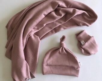 Woodland Forest Collection Lux Swaddling Baby Blanket, Hat, Mitt Set / Swaddler / Newborn Gift Set  / Sweater Blanket , Dusk colour