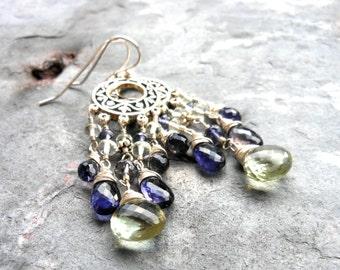 Chandelier Earrings Gemstone Sterling Silver Green Amethyst Blue Iolite Long Boho Waterfall Earrings