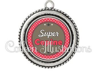 Pendant cabochons 25mm Super girl - series 4