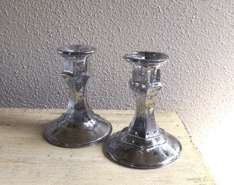 Pair of Mercury Glass Candlestick Holders - Silver Mercury Glass Candle Holders