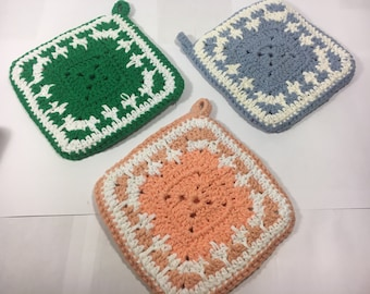 Vintage Pot Holders, Country Blend Trivets (3), Double-Sided Soft Potholders, Double Thickness Potholders, Decorative Countertop Pot Holders