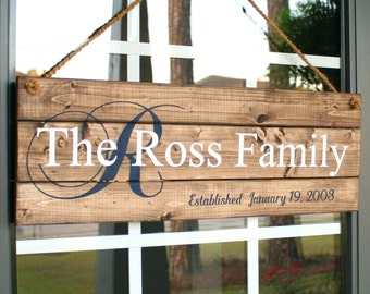 Family Name Sign- Personalized Wood Signs- Established Family Sign- Gifts for Mother in Law- 5th Anniversary Gift- Personalized Wedding Gift