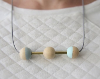 Wooden beads brass necklace Ribbon