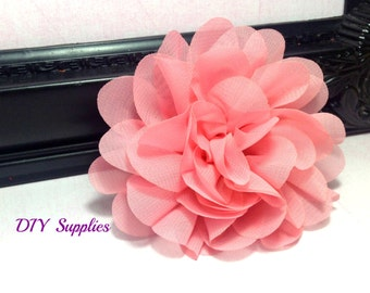 Light Coral chiffon scalloped flower -diy headband - fabric flowers - wholesale flower - hair bow supplies - silk flowers - flower wholesale
