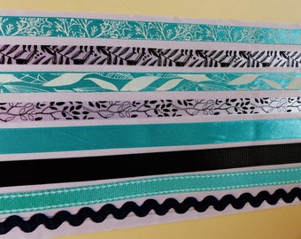 8 strips of Ribbon deco stickers self adhesive ribbon deco 8 x 50 cm or 4 m blue green turquoise black and white