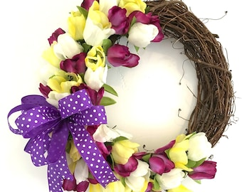 Spring Tulip Wreath, Spring Wreath Tulips, Front Door Wreaths for Spring and Summer, Mother's Day Gift, Spring Door Wreaths for Sale, wreath