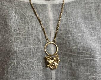 Cast bronze pendant, unique jewelry.