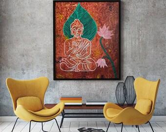 Acrylic Buddha painting, Home decor, wall art,mixed media buddha,home and living, handmade painting,buddha abstract painting