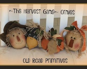 Primitive Scarecrow Pumpkin Pattern The Harvest Gang Ornies Pattern