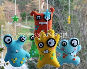 Baby Mobile, Monster Mobile, Custom Monster, Crib Mobile, Baby Crib Mobile, Nursery Monsters, Space, Baby Boy Bedding, Dolls Furniture 1