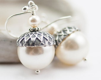 Acorn Earrings Winter Wedding Drop Earrings . Bridesmaid Gift Hostess Gift . Bead Jewelry with Cream Swarovski Pearls in Sterling Silver