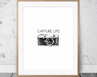 Inspirational wall art, Capture life, Camera print, Retro camera poster, Inspirational quote, Printable poster, Inspiration art, 018