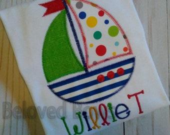 Applique Sailboat Shirt, Personalized Summer Shirt, Boys Beach Shirt, Monogrammed Sailboat Shirt