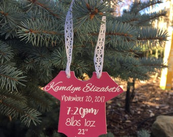 Personalized Onesie Ornament Babys First Christmas - Laser Cut and Engraved