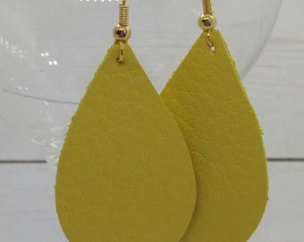 leather teardrop earrings, yellow leather